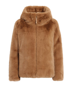 Dondup: Fur & Shearling Coats - Faux fur soft hooded jacket
