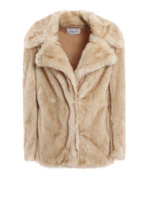 DONDUP: Pellicce e montoni - Giacca lunga beige chiara effetto pelliccia