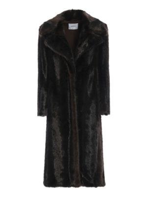DONDUP: Pellicce e montoni - Cappotto lungo marrone effetto pelliccia