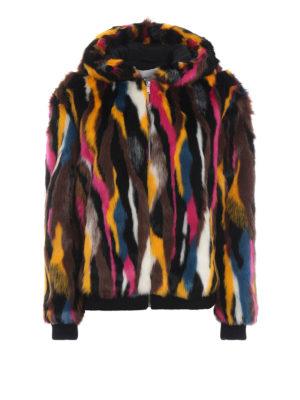 DONDUP: Pellicce e montoni - Bomber con cappuccio a intarsi multicolor