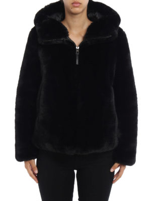 Dondup: Fur & Shearling Coats online - Faux fur hooded jacket