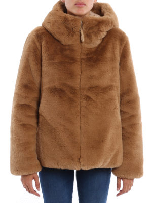 Dondup: Fur & Shearling Coats online - Faux fur soft hooded jacket