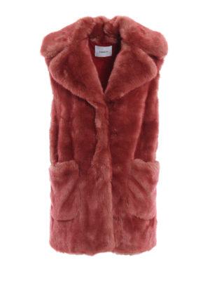 DONDUP: Pellicce e montoni - Eco-pelliccia senza maniche color salmone