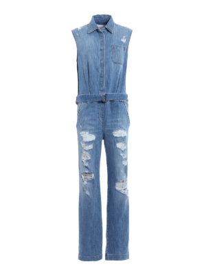 Dondup: jumpsuits - Badgal destroyed denim jumpsuit