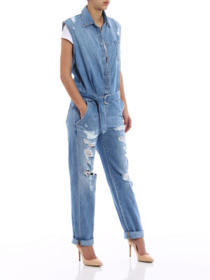 Dondup: jumpsuits online - Badgal destroyed denim jumpsuit
