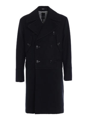 Dondup: knee length coats - Exposed stitchings wool coat