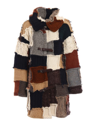 Dondup: knee length coats - Knitted wool patchwork coat