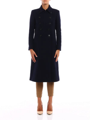 Dondup: knee length coats online - Cashmere double-breasted coat