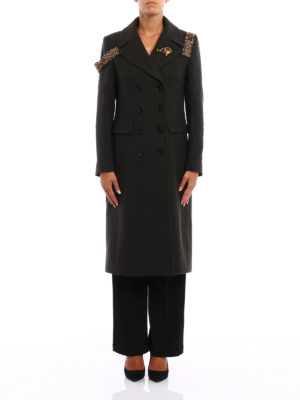 Dondup: knee length coats online - Pamily embellished coat