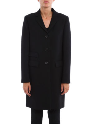 Dondup: knee length coats online - Wool blend crepe structured coat