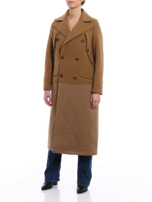Dondup: knee length coats online - Wool blend double-breasted coat