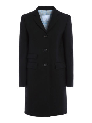 Dondup: knee length coats - Wool blend crepe structured coat