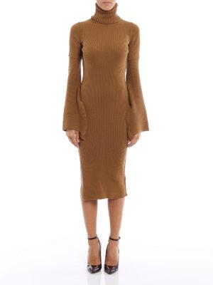 Dondup: knee length dresses online - Rib knitted wool tight dress