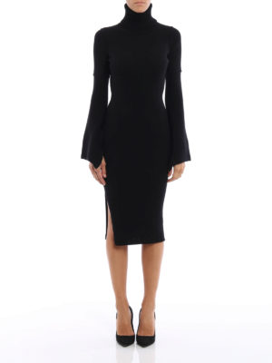 Dondup: knee length dresses online - Rib knitted wool tight dress
