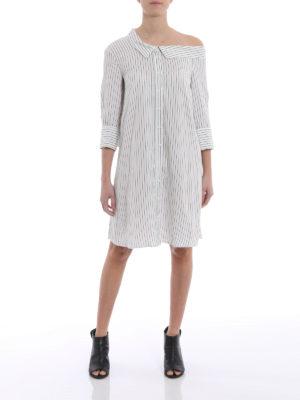 Dondup: knee length dresses online - Silk blend one shoulder shirt dress