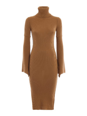 Dondup: knee length dresses - Rib knitted wool tight dress