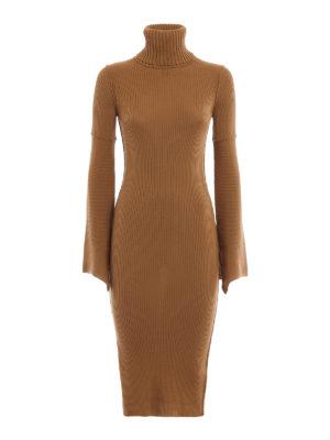 Dondup: knee length dresses - Rib knitted wool tight dress