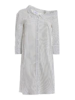 Dondup: knee length dresses - Silk blend one shoulder shirt dress