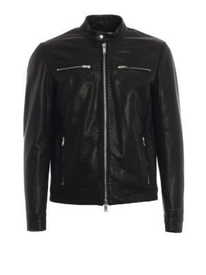 DONDUP: giacche in pelle - Giacca biker in pelle nera