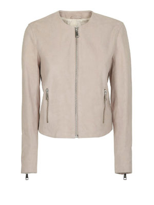 DONDUP: giacche in pelle - Giacca girocollo crop in pelle