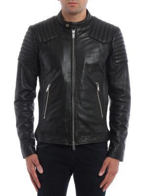 Dondup: leather jacket online - Lambskin Biker jacket