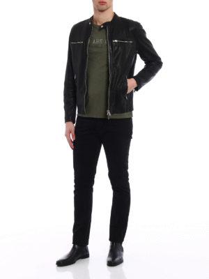 Dondup: leather jacket online - New Biker leather jacket