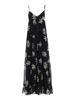Dondup: maxi dresses - Lily print silk maxi dress