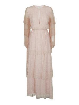 DONDUP: abiti lunghi - Abito maxi a balze in pizzo rosa