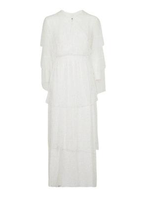 DONDUP: abiti lunghi - Abito maxi a balze in pizzo bianco