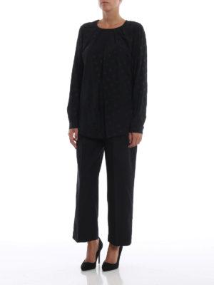 DONDUP: bluse online - Blusa nera in misto seta a pois