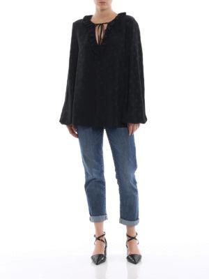 DONDUP: bluse online - Blusa nera misto seta a pois con ruche