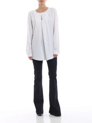 DONDUP: bluse online - Blusa bianca in misto seta a pois