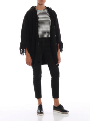 DONDUP: cardigan online - Cardigan nero lungo con frange