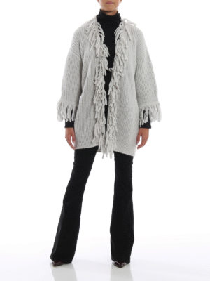 DONDUP: cardigan online - Cardigan lungo in misto alpaca con frange