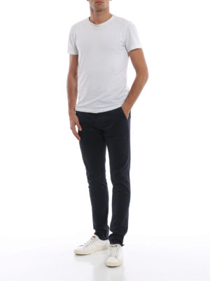 DONDUP: pantaloni casual online - Pantaloni blu Gaubert in cotone stampato