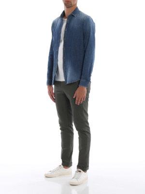 DONDUP: pantaloni casual online - Pantaloni Gaubert in cotone oliva con motivo
