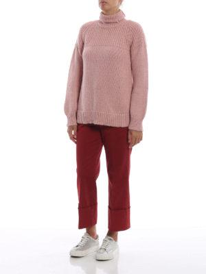 DONDUP: pantaloni casual online - Pantaloni dritti in rasatello rosso salmone