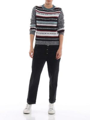 DONDUP: maglia collo rotondo online - Pull in misto lana con intarsi e borchie