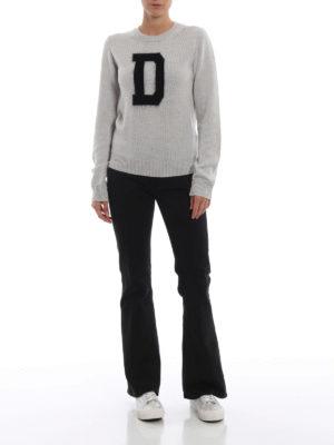 DONDUP: maglia collo rotondo online - Girocollo grigio perla con D a contrasto