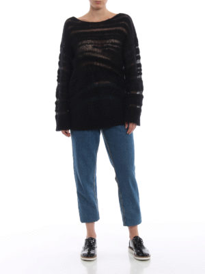 DONDUP: maglia collo rotondo online - Maglione nero in mohair e lana a intarsi