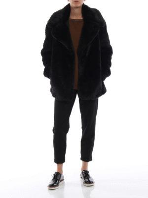 DONDUP: Pellicce e montoni online - Giacca lunga nera effetto pelliccia