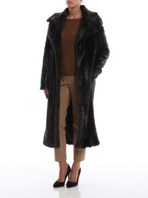 DONDUP: Pellicce e montoni online - Cappotto lungo marrone effetto pelliccia