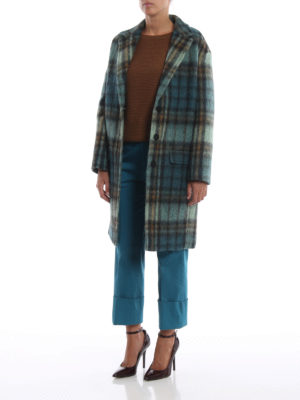 DONDUP: cappotti al ginocchio online - Cappotto in morbido scozzese verde acqua