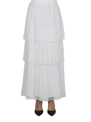 DONDUP: Gonne Lunghe online - Gonna maxi a balze in pizzo bianco