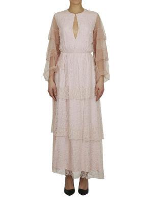 DONDUP: abiti lunghi online - Abito maxi a balze in pizzo rosa
