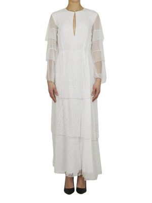 DONDUP: abiti lunghi online - Abito maxi a balze in pizzo bianco