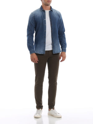DONDUP: camicie online - Camicia New Neck in denim tinto in capo