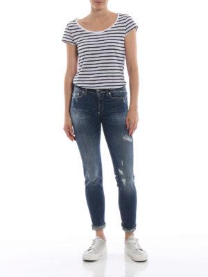 DONDUP: jeans skinny online - Jeans Monroe a vita bassa in denim strappato