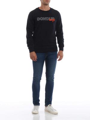 DONDUP: Felpe e maglie online - Felpa girocollo blu scuro con logo e ricamo