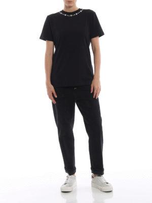 DONDUP: t-shirt online - T-shirt nera con borchie scintillanti